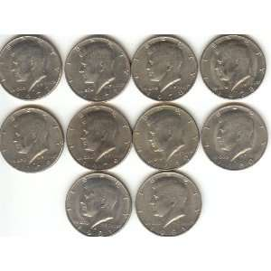 KENNEDY HALF DOLLARS  SET OF 10 DIFFERENT DATS AND MINT MARKS  5 YEARS