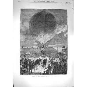1870 Night Scene Departure Hot Air Balloon Paris: Home