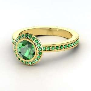 Roxanne Ring, Round Emerald 14K Yellow Gold Ring Jewelry