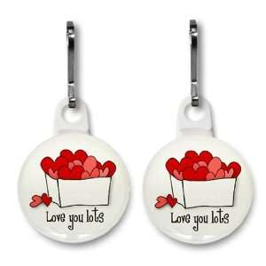 LOVE YOU LOTS Valentines Day 2 Pack 1 Zipper Pull Charms
