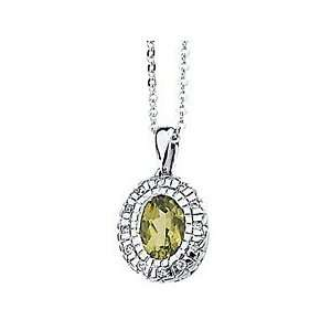 Eye catching Oval Cut Peridot & Diamond Necklace set in 14