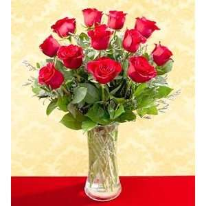 One Dozen Red Roses   Vased: Grocery & Gourmet Food