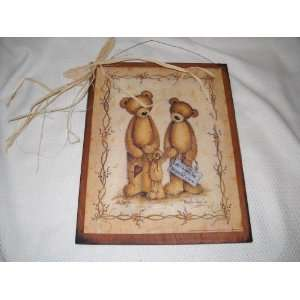 All Because Two People Fell in Love Teddy Bear Country Wall Art Sign