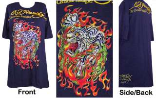 Ed Hardy Navy Flaming Tiger Plus Size T Shirts 2x 3x 4x