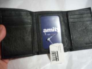 New Amity Black Slim Trifold Leather Wallet