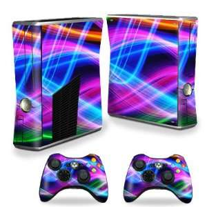 for Microsoft Xbox 360 S Slim + 2 Controller Skins Skins Light waves