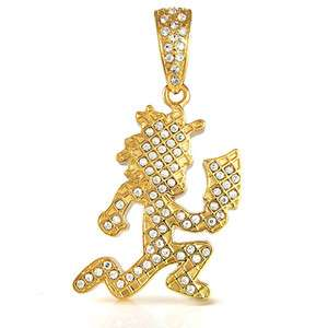Licensed Iced Out Gold Color Charm ICP Hatchet Man Juggalo Pendant