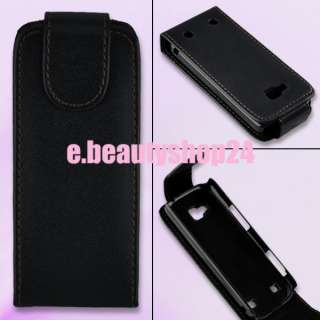 Black Flip Leather Case Pouch Cover For NOKIA C5 C5 00