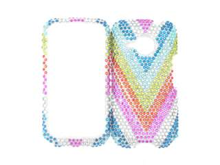 DIAMOND RHINESTONE CASE COVER HTC DROID ERIS RAINBOW BLING FACEPLATE