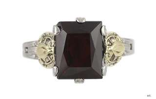 ATTRACTIVE TWO TONE 14K WHITE YELLOW GOLD GARNET RING