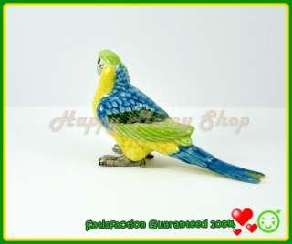 Miniature Ceramic Figurine Blue,Yellow,Green Parrot Bird Animal