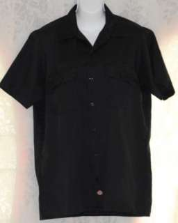 Dickies Mens Button Down Short Sleeve Camp Work Shirt Black Medium
