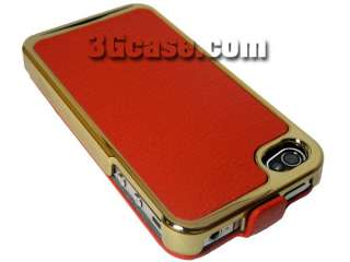 Item 1 x Red Leather Flip Case for iPhone 4