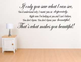 One Direction Your Beautiful Song Lyrics Wall Art Decal Sticker WA0139