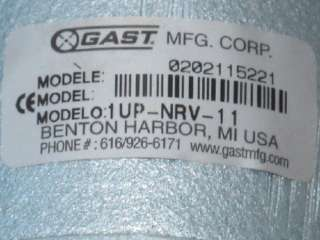 GAST 1UP NRV 11 LUBRICATED AIR MOTOR NEW