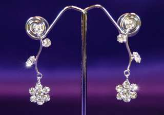 Bridal Prom Flowers Crystal Necklace Earrings Set S1031