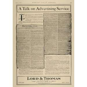 Ad Lord & Thomas Advertising Agency Printers Ink   Original Print Ad