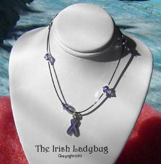 FIBROMYALGIA   LUPUS   Purple Ribbon Awareness ANKLET   Black NICE