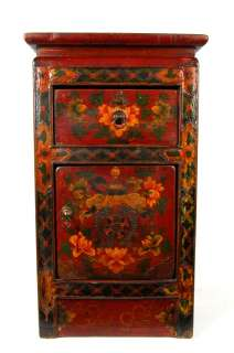 TIBETAN PEONY SIDE STAND Cabinet Altar Display 26.5New