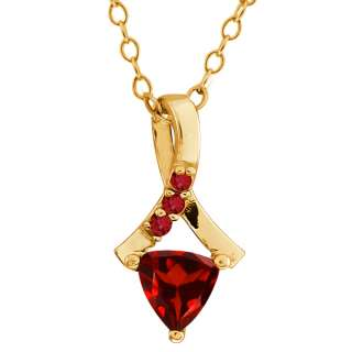 57 Ct Trillion Red Garnet Gold Plated Sterling Silver Pendant