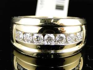 YELLOW GOLD 1 ROW REAL WEDDING BAND DIAMOND 12 MM RING 1 CT