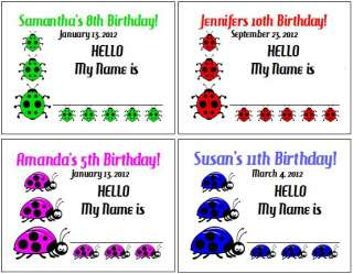 15 Birthday Party Ladybug Lady Bug Personalized Name Tags Labels