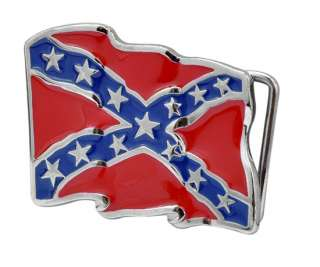 Enamel Flying Rebel Flag Belt Buckle Southern Confederate PRIDE