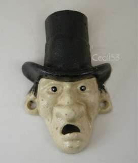BEER BOTTLE OPENER OLD MAN WITH TOP HAT CAST IRON