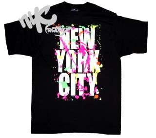 BLACK NEW YORK CITY PAINT SPLASH SPLATTER NY T SHIRT XL