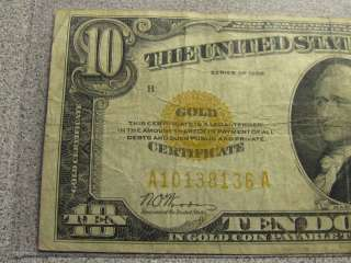 1928 Ten $10 Dollar Bill   Gold Certificate Gold Seal Note   Free