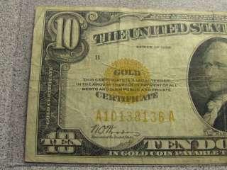 1928 Ten $10 Dollar Bill   Gold Certificate Gold Seal Note   Free