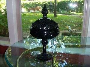 BLACK GLASS DIAMOND POINT COVERED COMPOTE 1960S INDIANA GLASS