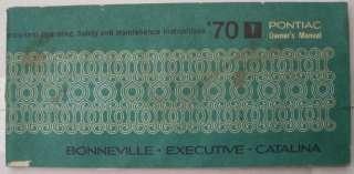 1970 Pontiac Bonneville Catalina Executive Owners Manual 70