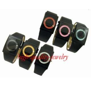 Fashion Glass surface Black PU Leather Girl/Boy/Lady/Men Quartz Watch