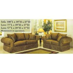 2PC Nicole Olive Green Fabric Sofa Couch Loveseat Set