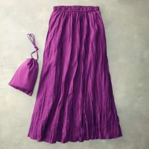 TravelSmith Womens Plus Size Solid Crinkle Skirt Purple 3X