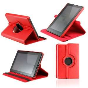 Red 360 Degree Rotating Leather Case Cover with Swivel