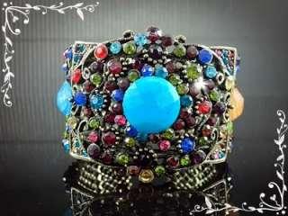 3D Classic Flower Bronze Bracelet Bangle with Multi Color Crystal