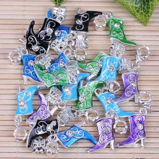 20p Mix@ Silver Plated Enamel Boots Dangle Beads Charms