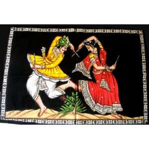 Woman Scene Sequin Sitara Batik Cotton Fabric Wall Hanging Tapestry 30