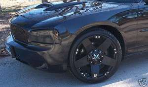 22 INCH Black Out Rockstar 300C Charger Wheels Rims 265