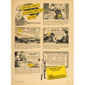 1948 Ad Western Union Telegrams Scrap Metal Business   Original Print