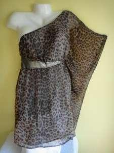 2b Bebe NEW Maggie One Shoulder Kimono Metallic Leopard DRESS Tunic