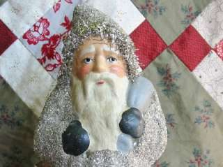 Vintage Style 9 1/2 inch Silver Belsnickle Paper Mache Santa Glass