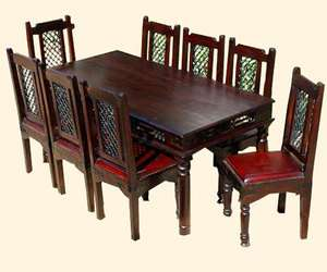 Solid Wood 9 pc Dining Room Table & Chair Set for 8 People Rustic