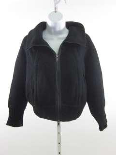 DKNY Black Wool Knit Zippered Cardigan Sweater Sz M