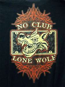 No Club Lone Wolf, Motorcycle Biker T shirt