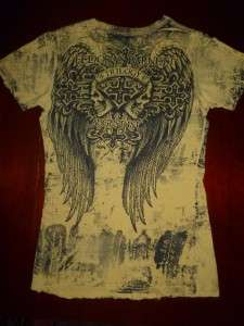 BUCKLE WOMENS AFFLICTION   RARE SKULLS, CROSS, WINGS T  Shirt, SIZE M