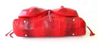 100% GENUINE SNAKE LEATHER HANDBAG BAG BACKPACK LARGE RED NEW