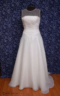 Ivory Organza Beaded Sleevless Wedding Dress 12 NWD